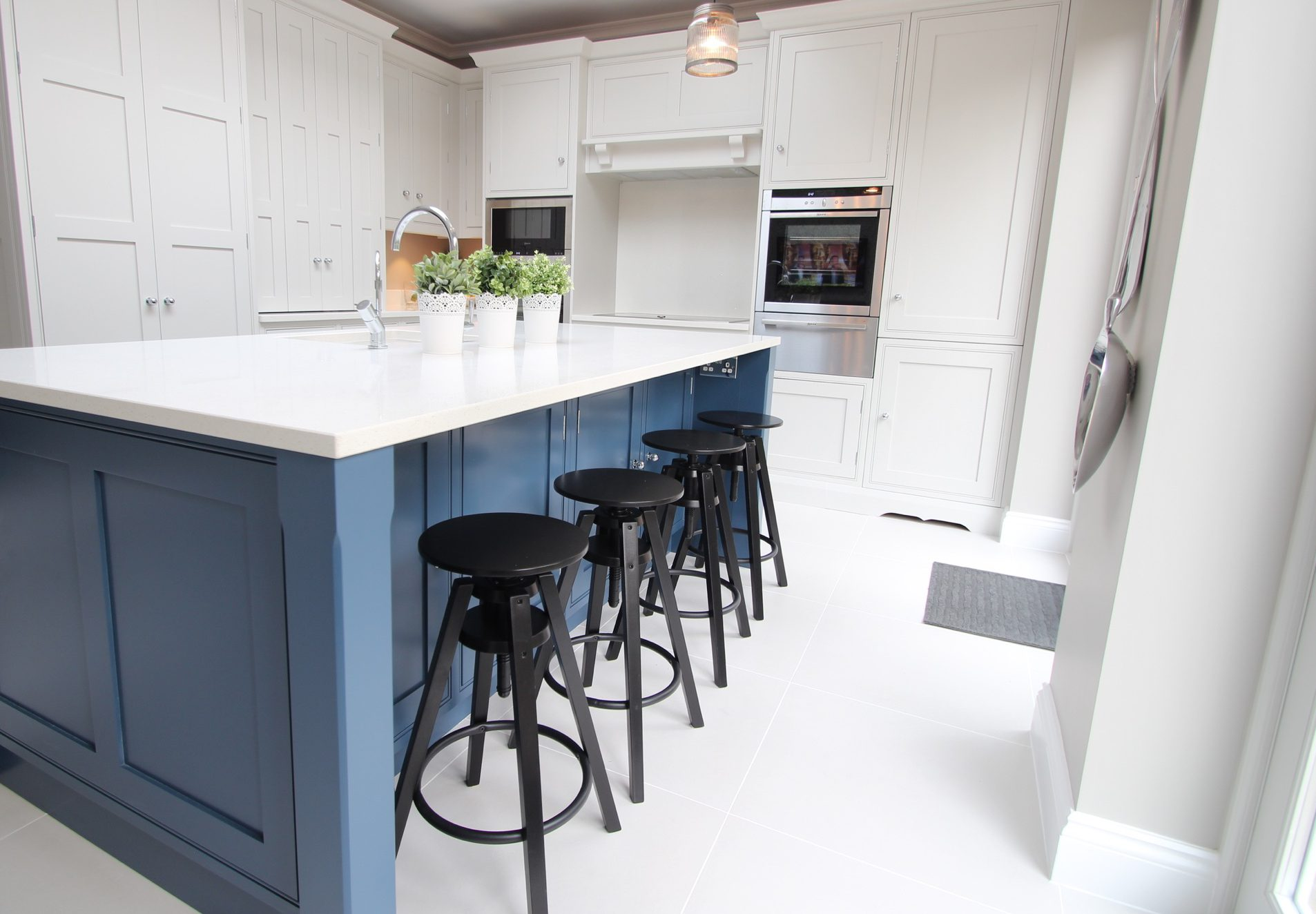 Blue and white painted traditional kitchen
