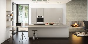 Matt light grey modern kitchen with Miele appliances