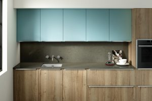 Reclaimed wood an matt blue modern retro kitchen