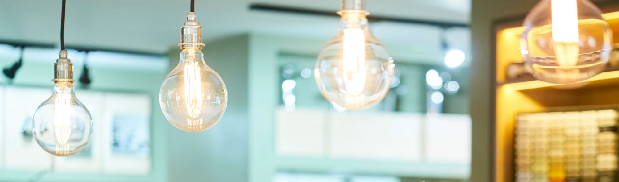 Exposed bulb lighting close up