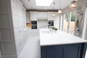 panelled shaker kitchen with larder